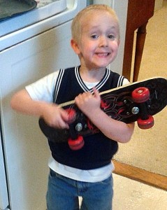 Timmy and skateboard
